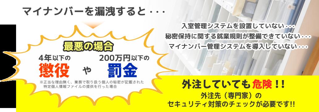 マイナンバーを漏洩すると・・・4年以下の懲役や200万円以下の罰金